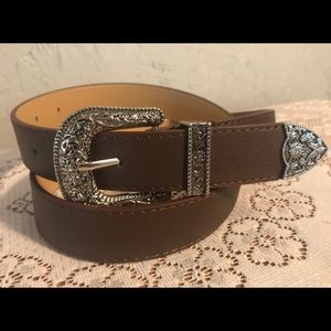 Brown leather western women's belt
